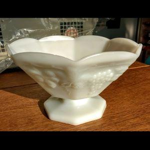 Anchor Hocking Milk Glass Grape Serving Bowl